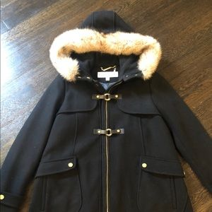 NWOT Trina Turk Duffel Coat Coyote Fur Trim